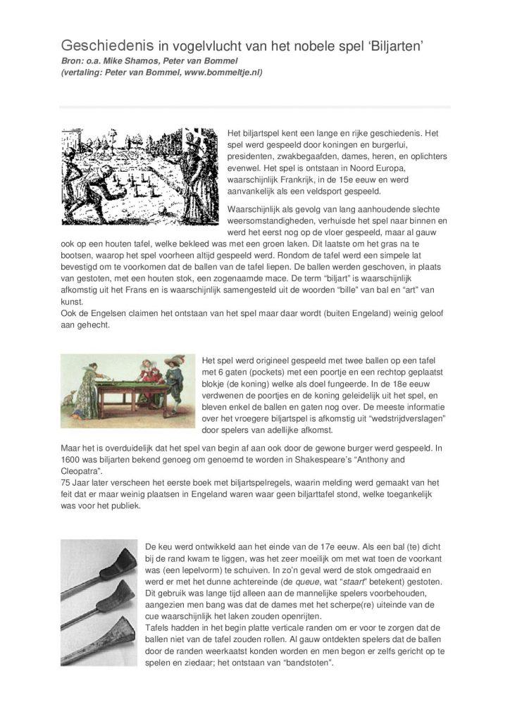 Geschiedenis van de Biljartsport - versie 02-20171