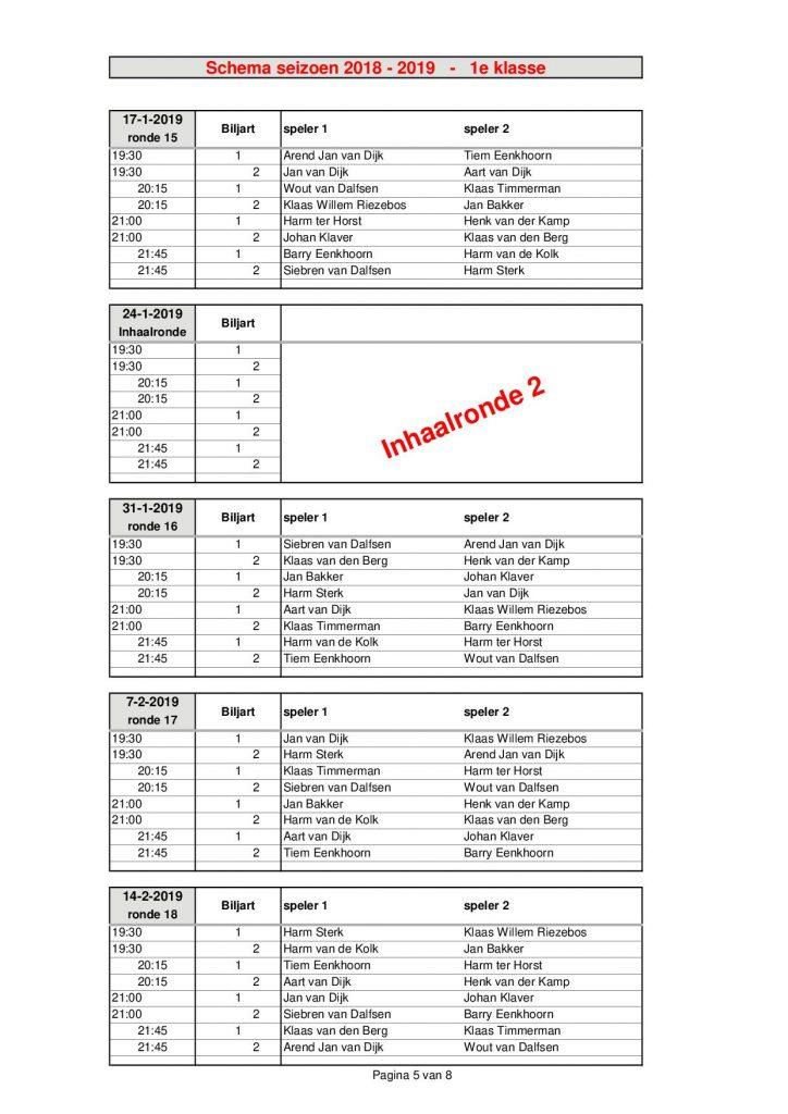 1e Klasse - seizoen 2018 - 20195