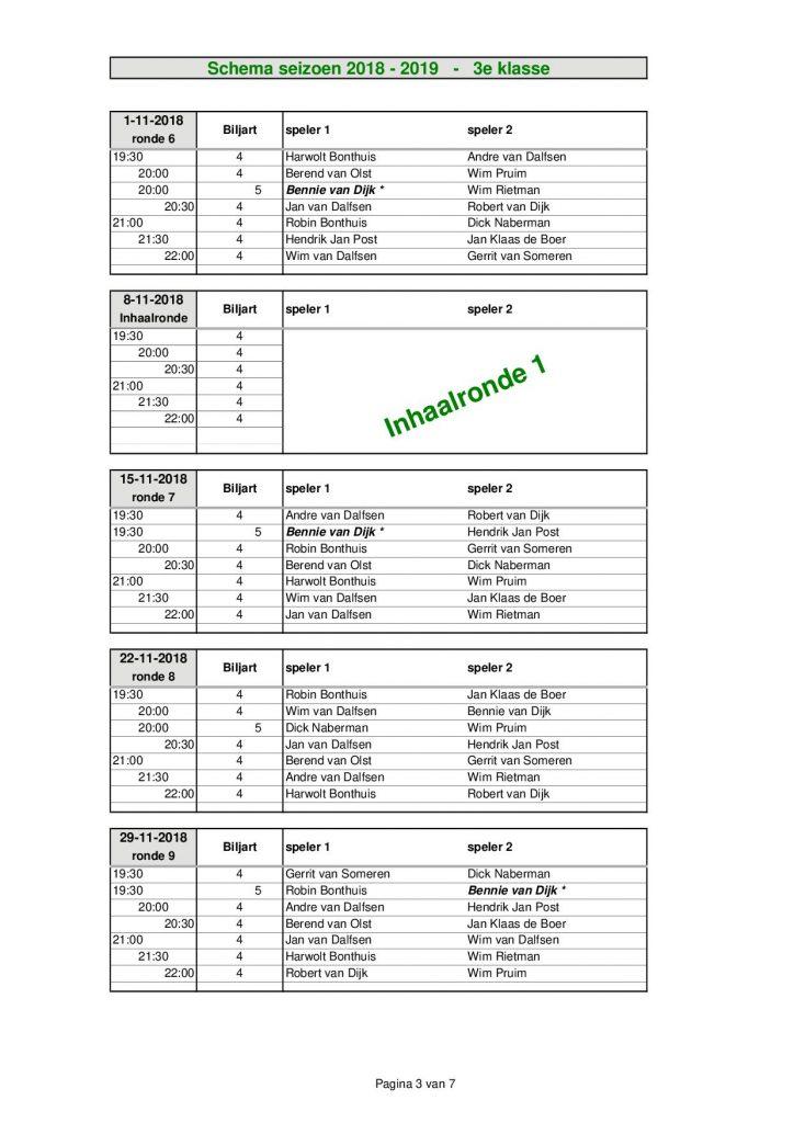 3e Klasse - seizoen 2018 - 20193