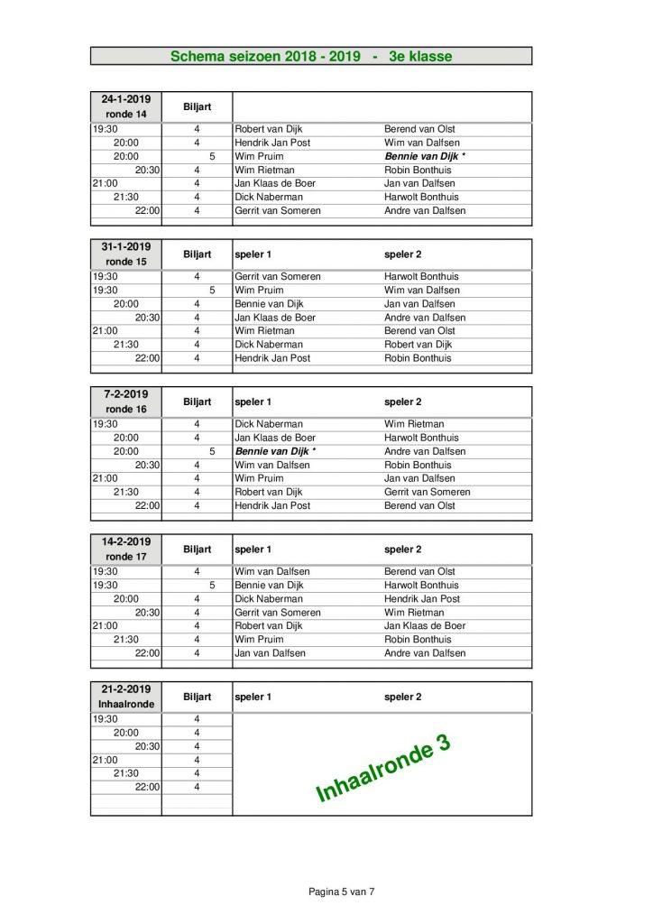 3e Klasse - seizoen 2018 - 20195